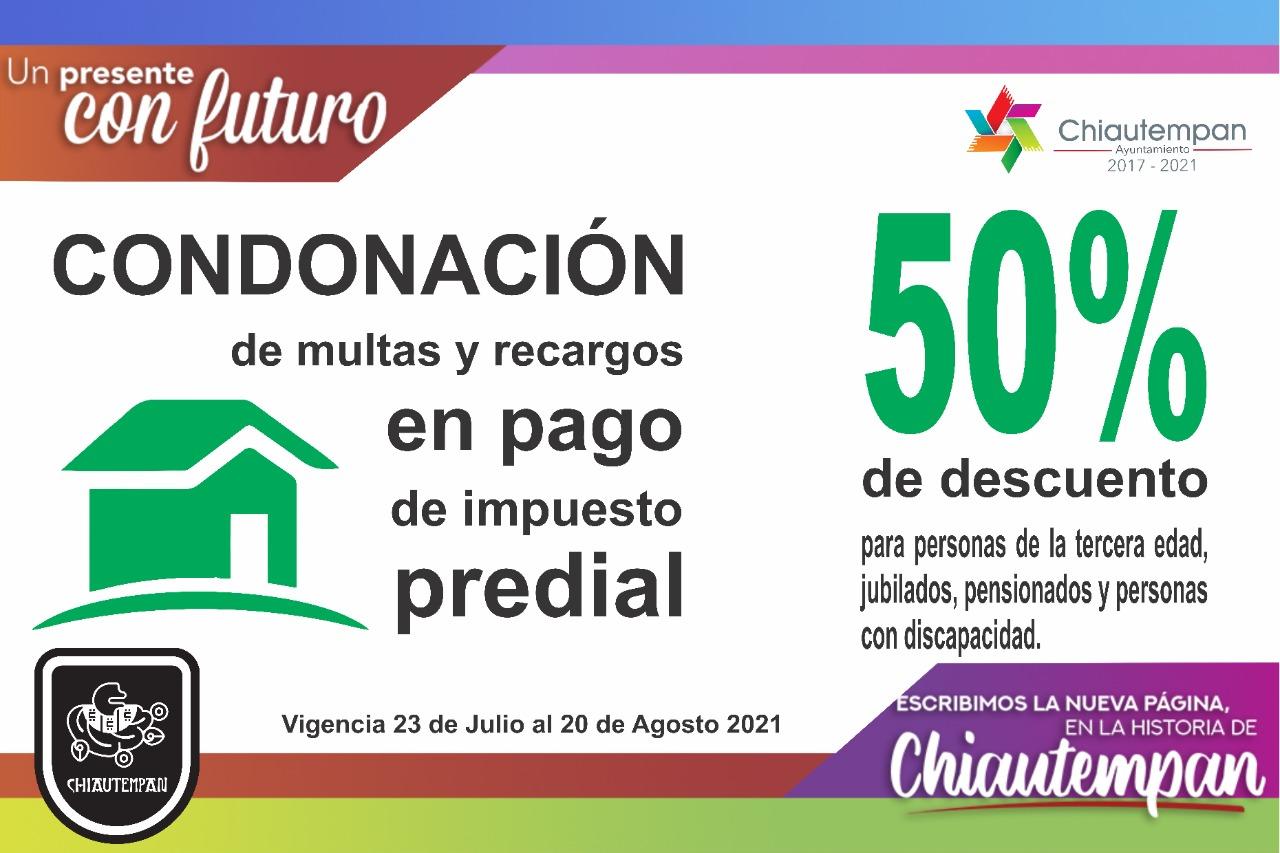 Condonará Chiautempan multas y recargos en impuesto predial y 50% de descuento
