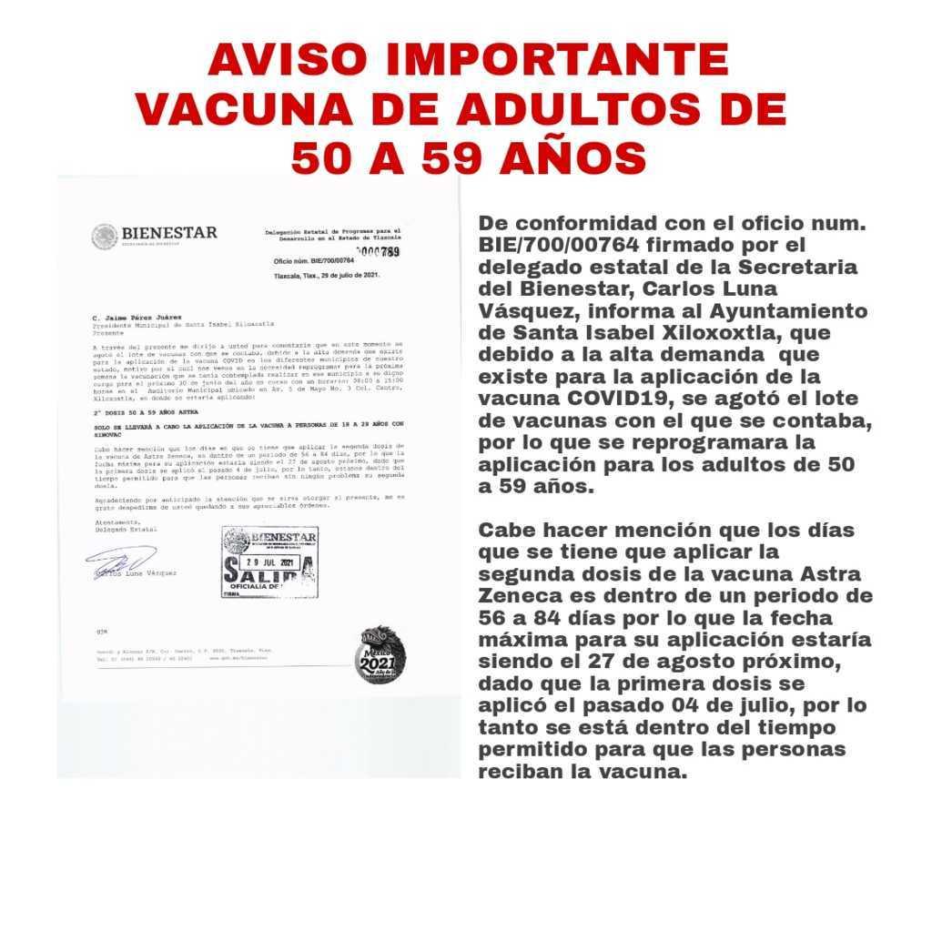 Aviso Importante sobre la aplicación de la vacuna Covid para adultos de 50 a 59 años