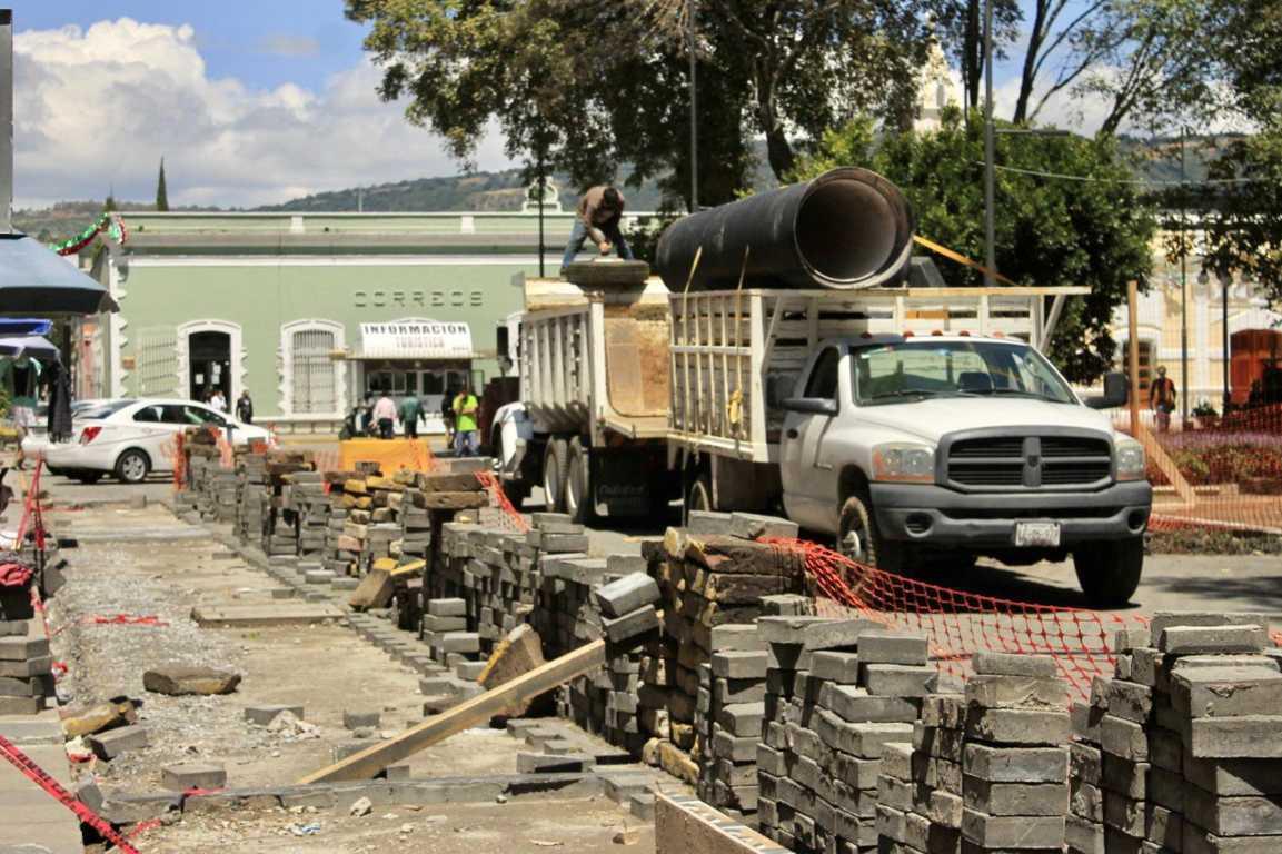 Avanzan obras en el  corazón de la capital tlaxcalteca