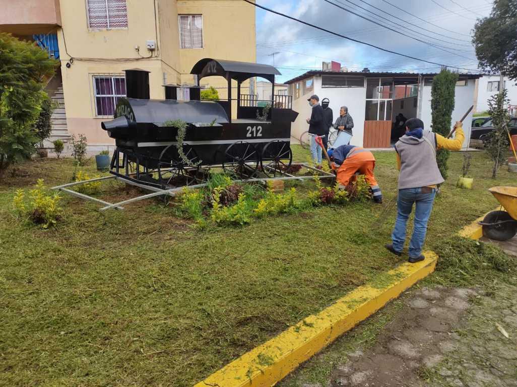 En marcha trabajos de limpieza y rehabilitación de espacios públicos en Apizaco