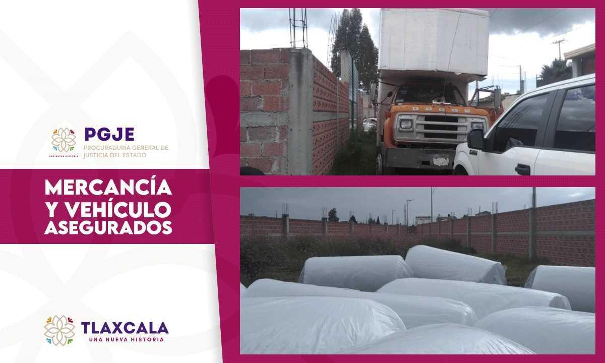 Asegura PGJE inmueble con tractocamión y mercancía en Chiautempan