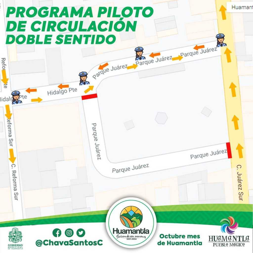 Inicia programa piloto de doble circulación en calle Hidalgo a la altura del parque Juárez