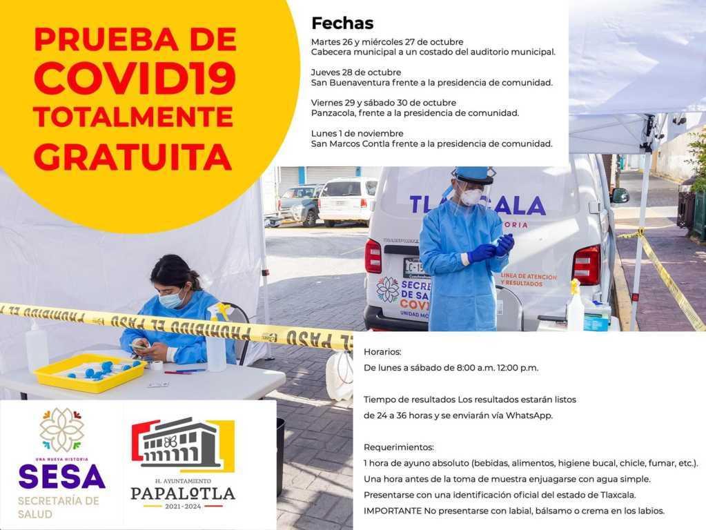 Ayuntamiento de Papalotla realiza pruebas PCR SARS-COV-2 sin costo
