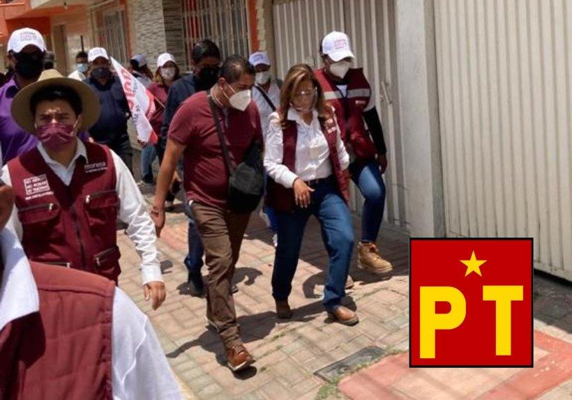 Líderes petistas recorren las calles de la capital con Lorena Cuéllar