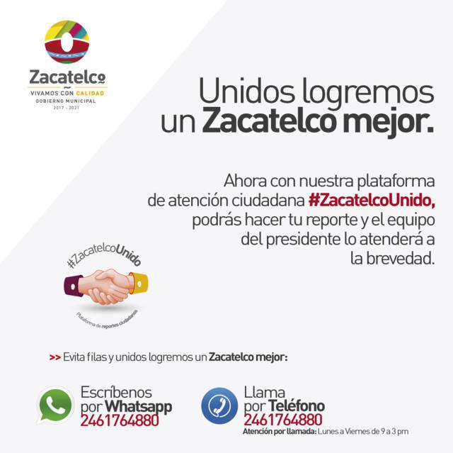"""Ayuntamiento puso en marcha plataforma """"#ZacatelcoUnido"""""""